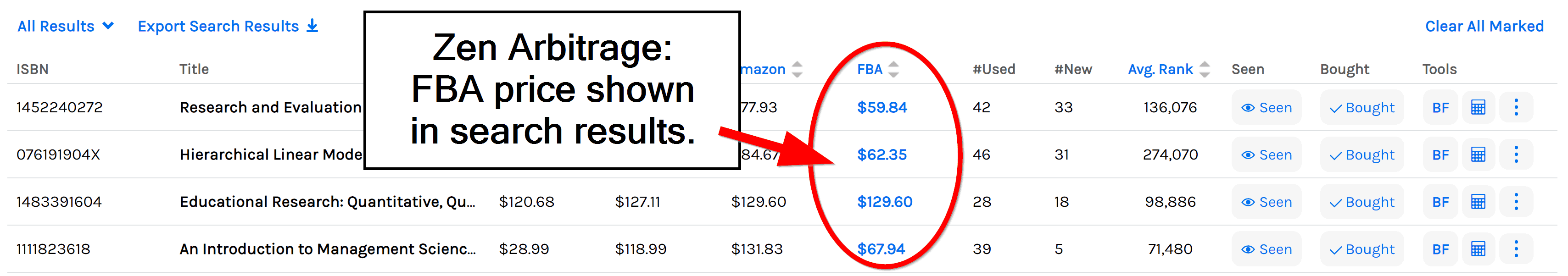 Zen Arbitrage shows the FBA price.