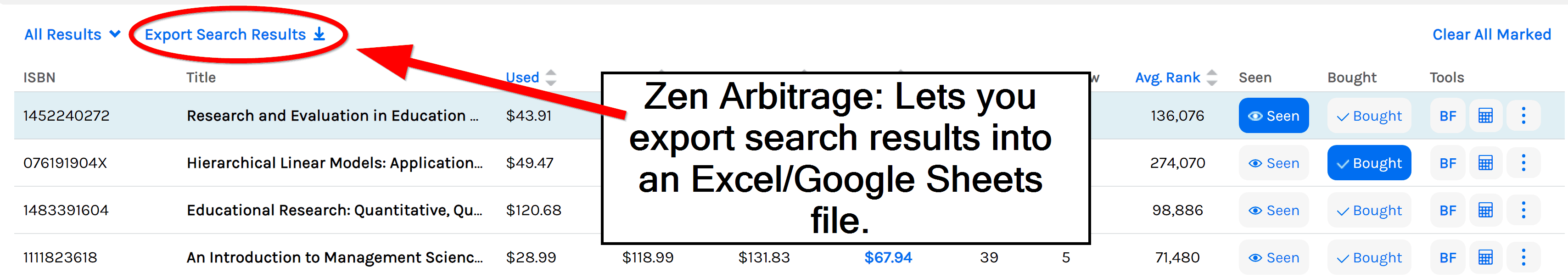 Zen Arbitrage lets you export search results