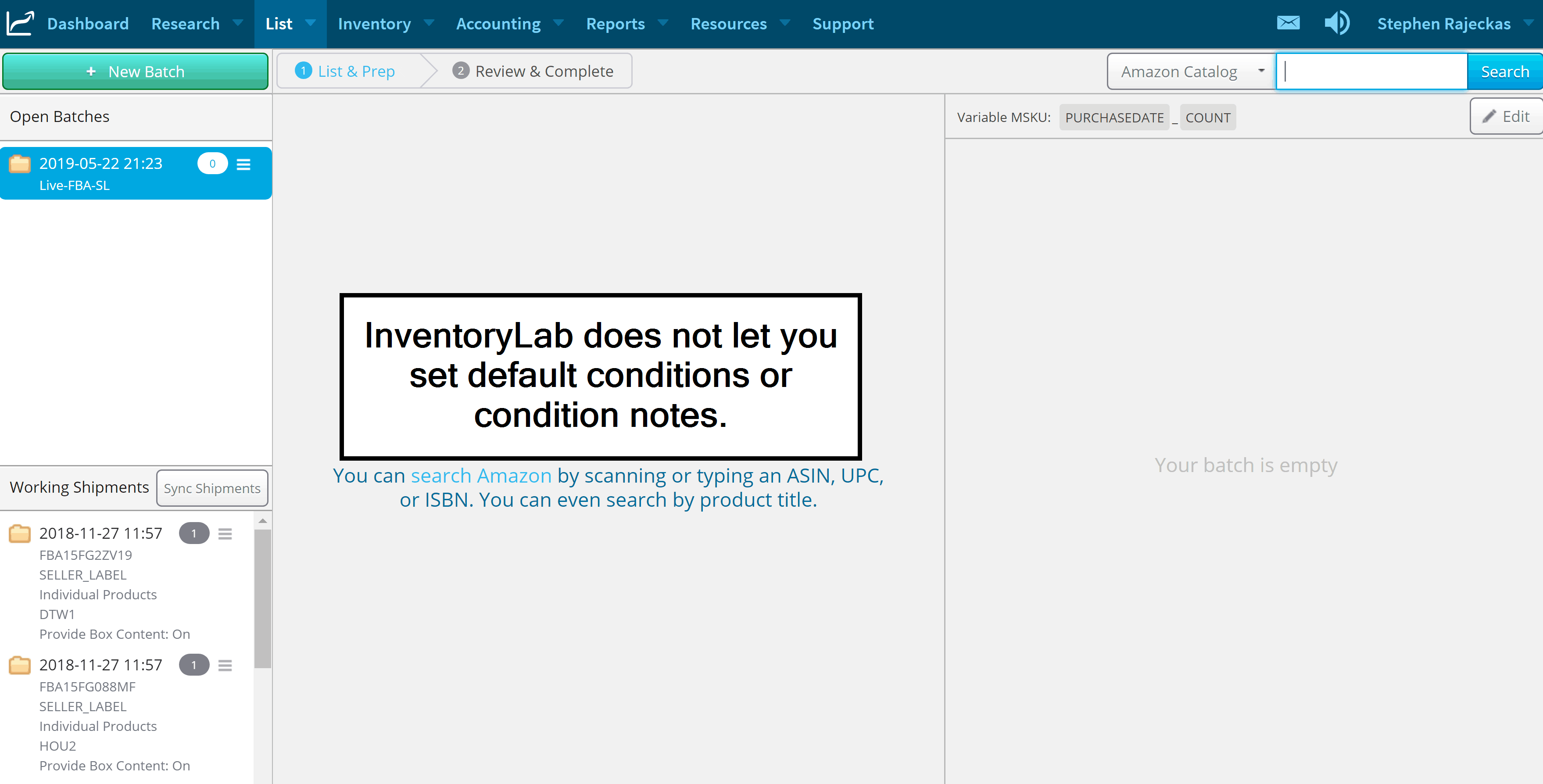 inventorylab no defaults